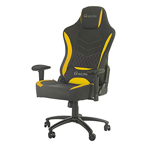 Massage Computer Gamer Chair Racing Style, Reclining Ergonomic Chair, Adjustable High Back Headrest and Lumbar Support Video Game Chair