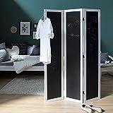 Homestyle4u 761 Paravent Raumteiler 3 teilig, Holz, Memoboard Tafel