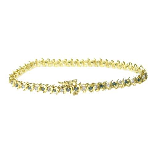 Vir Jewels 2 CT Blue and White Diamond Bracelet 10K Yellow Gold