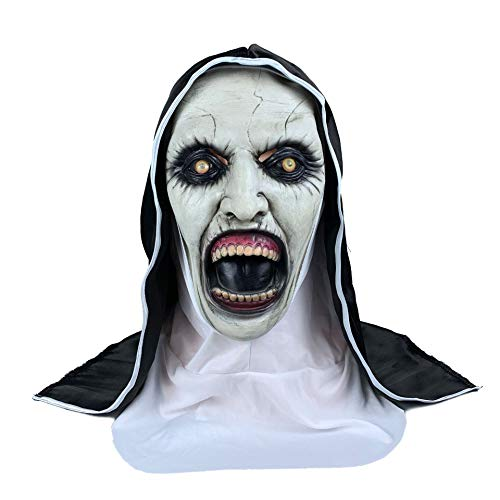 Frecoccialo Máscara de Halloween Látex Máscara Terror Monja Disfraz Máscara Cosplay para Halloween Fiesta Temática Carnaval (Monja 2, 61cm)