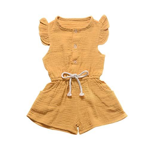 Zylione Kinder Overall Jungen und Mädchen Baby Fliegen Ärmel Volltonfarbe Knopföffnung Fliege Overall