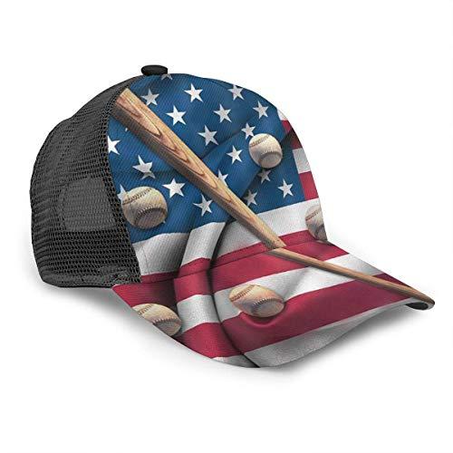 Unisex Baseball Cap Baseballschläger auf American National Flag Caps Snapback Bill Hip Hop Hüte/Hut Schwarz