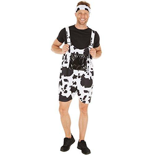 TecTake dressforfun Herrenkostüm Kuh | Coole und fetzige Latzhose | Weicher Flauschstoff | inkl. bequemen T-Shirt (XL | Nr. 300850)