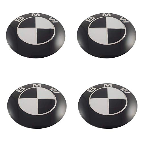 LUDOSTREET ref0010 (X4) Logo emblème Badge Anagram jante roue Auto voiture Compatible avec BMW 68mm 10 broches (Noir - Blanc)