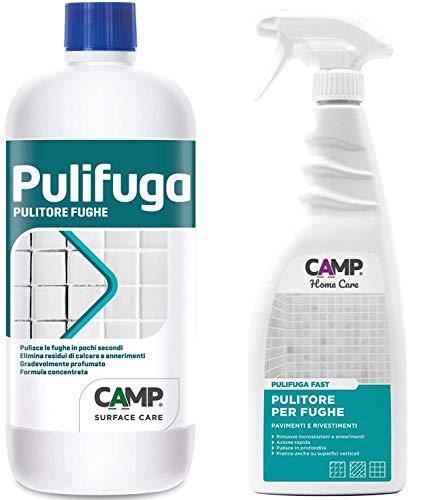 Camp PULIFUGA, Pulitore concentrato in KIT con PULIFUGA FAST detergente per fughe di pavimenti, piastrelle, e rivestimenti