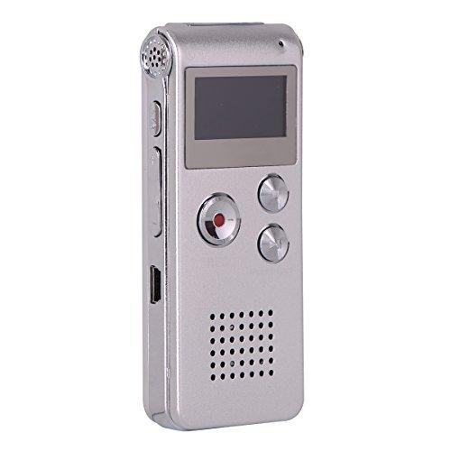 BALALALA Digitales Diktiergerät, 8GB Diktierapparat Tonaufnahmegerät HD Audiorekorder, MP3-Player, Wiederholfunktion Aufnahmegerät für Vorlesungen Meetings, Interviews, Unterricht(Silber)