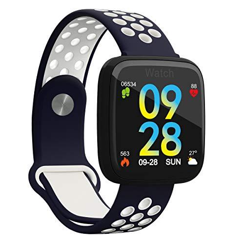Smartwatch met groot kleurendisplay en weersvoorspelling, bloeddruk- hartslagmonitor, stappenteller, voor iPhone, Android en iOS, blauw