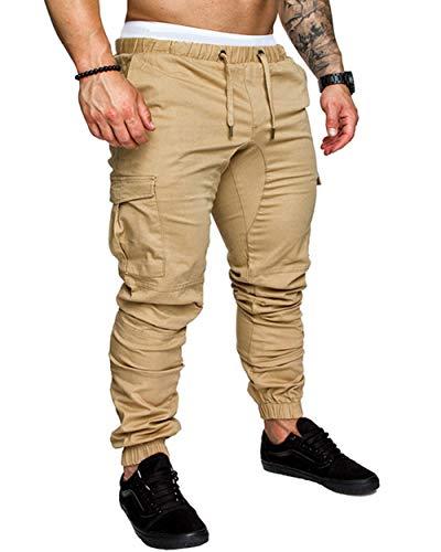 Herren Casual Solid Color Taschen Taille Kordelzug Knöchel gebunden Skinny Cargohose Herren Multi-Pocket Overalls Tactical Pants Khaki M