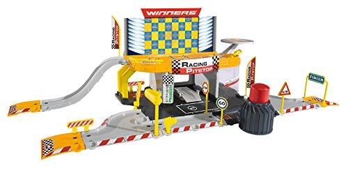 Majorette 212050011 - Creatix Racing Pitstop, Set mit Tankstelle und Werkstatt, Maße: 72 x 30 x 22 cm