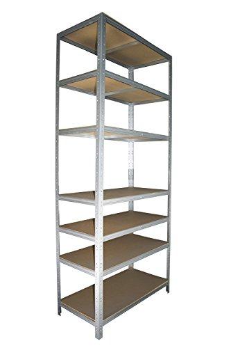 Schwerlastregal 200 x 60 x 30 cm mit 7 Böden Stecksystem aus Metall verzinkt: Metallregal geeignet als Kellerregal, Lagerregal, Archivregal, Ordnerregal, Werkstattregal