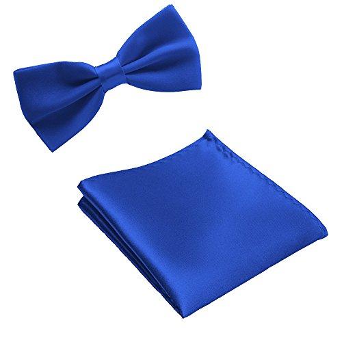 WS FLIEGE + EINSTECKTUCH SET Herren Hochzeit Konfirmation Anzug Krawatte (royalblau)