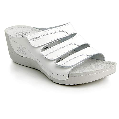 Batz OLGA di Alta Qualità Sandali Zoccoli Sabot Pantofole Scarpe, Pelle, Donna, Bianco, EU 41