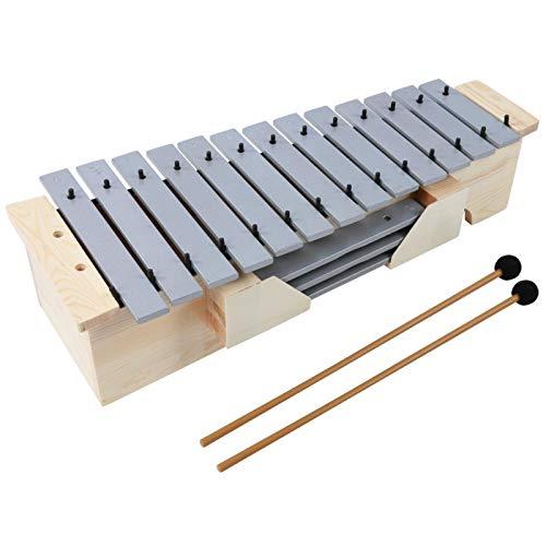01 Xilófono, Instrumento de percusión, xilófono, vibráfono, Marco de Madera de 16 Tonos, Instrumento Musical, 2 Piezas, mazo para Adultos y niños