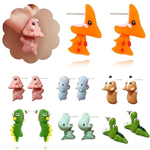 LINPING 2 Paia di Orecchini in Argilla polimerica con morso di Animale Carino, Orecchini in Argilla 3D, Orecchini a Forma di Animale in polimero Fatti a Mano semplici alla Moda (Green Dinosaur)