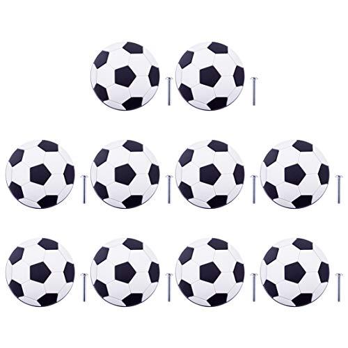 Möbelknöpfe Kinderzimmer, 10er Set Kinder Möbelknopf mit Motiv Fußball Schrankgriffe Türknöpfe Schrankknöpfe Griff Knopf für Möbel Deko
