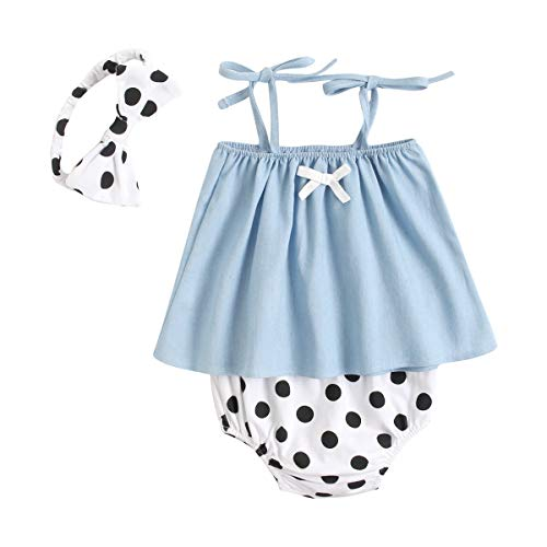 UMore Recién Nacido Algodón Bebé Niña Mono Lunares Sin Manga Ropa de bebé Linda Princesa Infantil Ropa