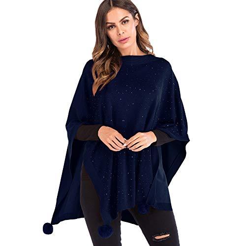 Yalatan Frauen Casual Strickumhang Schal Pullover Asymmetrischen Saum Wrap Poncho Mantel Outwear 3/4 Ärmel Royal Blue