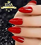 EDA LUXURY BEAUTY RED LUXE DESIGN Full Cover Acrylic Press On Nails Professional Nail Art Tips Artificial Shiny Gel False Nails Extra Long Oval Round Pointed Almond Stiletto Super Fashion Fake Nails