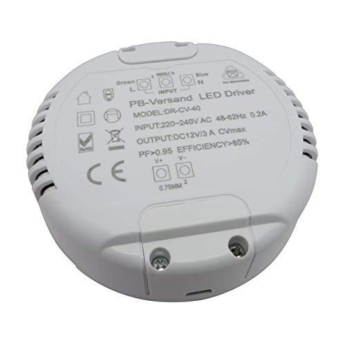 LED Trafo 12V DC 1-40 Watt (rund) Netzteil Treiber Transformator - ohne Mindestlast