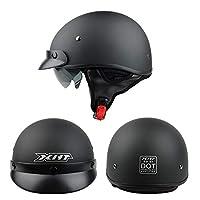 オープンフェイスのオートバイハーフヘルメット、フォーシーズンズヘルメット、クルーザーチョッパー用レトロハーフヘルメット、ランディングバイザー付き、ECE認定DOT認定