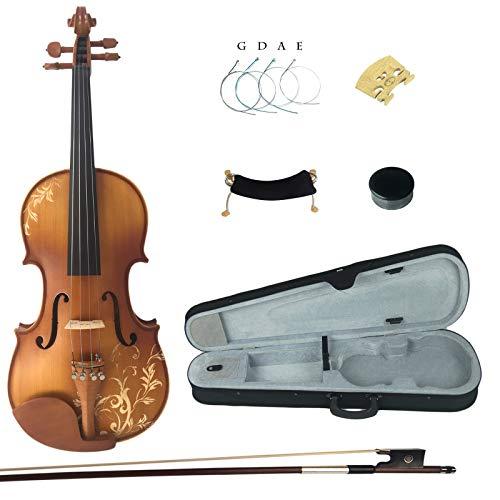 Kinglos 4/4 Fiore Intagliato In Legno Massello Violino...