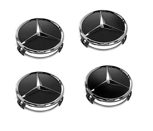 4 tapacubos para ruedas de Mercedes Benz, 75 mm, negros, de reemplazo, 66470200