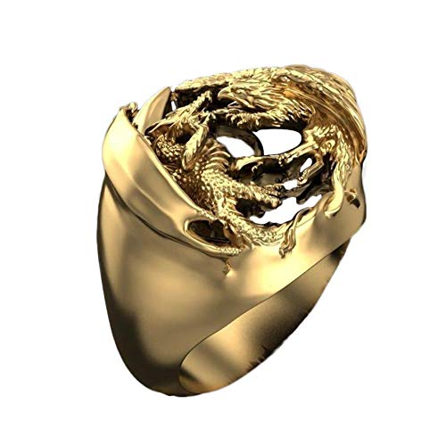 FURUN Men's Dragon Ring Domineering Dragon Phoenix Mythology Warrior Cocktail Ring Band Rings Party Hip Hop Gold Color Gothic Punk Jewelry Gifts for Men Women