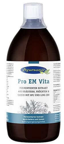 Pro EM Vita (1.000 ml) | Effektive Mikroorganismen hochdosiert | 31 verschiedene Stämme an Bifido- und Lactobakterien | Mit Schwarzkümmel, OPC und Ling Zhi | Apothekenqualität aus deutscher Produktion
