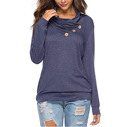 Damen Bluse Langarm Mode Einfarbig T-Shirt Tops Casual Lose Rundhals Sweatshirt Damen...