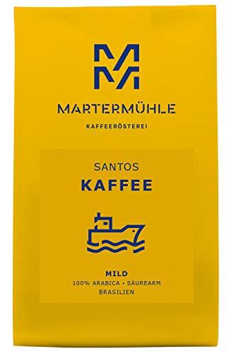 Martermühle | Kaffee Santos (1kg) | Ganze Bohnen | Premium Kaffeebohnen aus Brasilien | Schonend geröstet | Kaffee säurearm | 100% Arabica