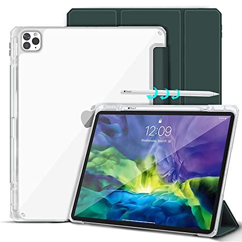 Gahwa Cover per iPad Pro 12.9 Pollici 2020/2018 con Built-in Pencil Holder, Custodia Sottile Leggero Semi-Trasparente Case in Supporto a Tre Pieghe con Auto Sveglia/Sonno - Verde