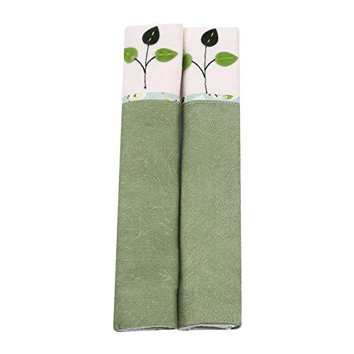 Manilla de puerta de frigorífico guantes de tela para puerta de refrigerador, cubiertas bordadas con mango de encaje para puerta de refrigerador (color: árbol verde)