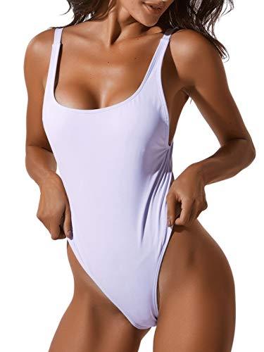 FITTOO Costume da Bagno Donna Bikini Brasiliana Un Pezzo Sexy Monokini Slim Intero Sexy U-Collo Costume Intero Mare Push UP