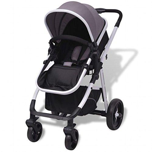 Cochecito plegable con 4 ruedas, sistema de cinturón de seguridad de 5 puntos y carrito plegable para niños, color negro