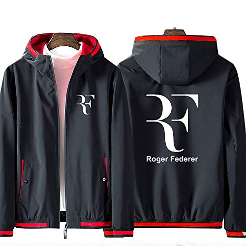 73HA73 Kapuzen Sweatshirt Herren Full Zip Hoodie Tennis Grand Slam Roger Federer Jacke Teen Fashion Komfortable Sweatshirt Unisex (No Shirt),Black-red,XL(171-180cm)