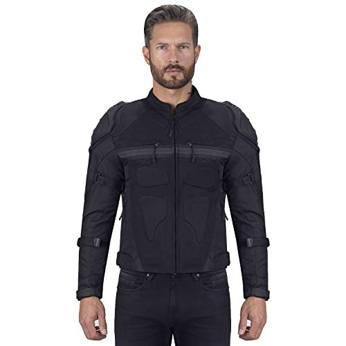 Viking Cycle Stealth Armored Textile Motorcycle Jacket For Men - Extra Protection,Waterproof and Breathable Mesh (L)