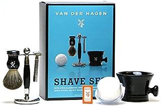 VANDERHAGEN(米) ウェットシェービングセット ビックブルーシェイブセット 両刃 髭剃り 替刃5枚付
