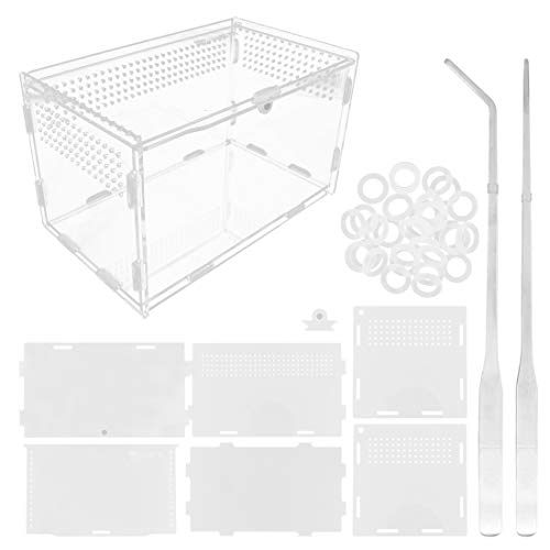 Caja de alimentación para reptiles de acrílico, 20 x 12 x 12 cm, caja de cría de vidrio transparente para terrario con 2 pinzas rectas y curvas para mascotas, insectos, araña, grillos, caracol