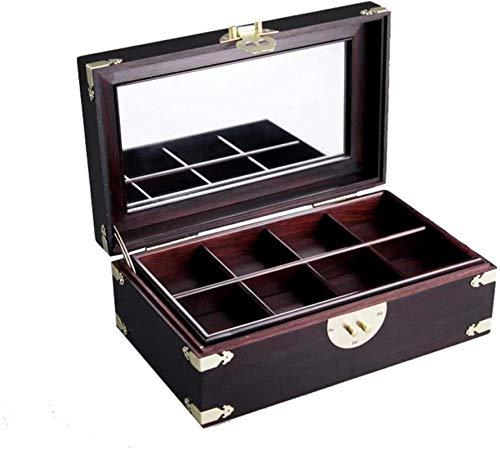 Caja de joyería caoba de madera maciza vintage chino wenwan jewa joyería joyería caja de almacenamiento regalo de boda H-2020-10-5 (Color: Marrón, Tamaño: 281813cm)