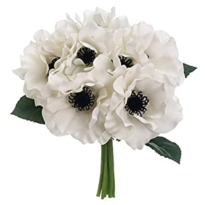10″ Real Touch Anemone Silk Flower Bouquet -White (Pack of 6)