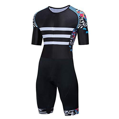 TZTED Combinaison Trifonction Homme Vêtement Triathlon Natation Manche Courte Nage, Vélo, Course,Noir,M