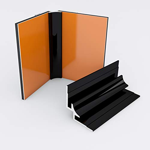 Duschrückwand-Profilsystem Inneneckprofil Aluprofil Aluminiumprofil für 3mm Duschrückwand Küchenspiegel 300cm schwarz