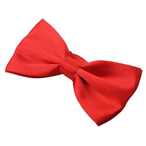 Kajeer Herren Fliege Schleife für Hochzeit Party - Einfarbig Einstellbar Smoking Fliege Nobel Seiden Vor gebundene formale Fliege (Rot)