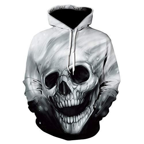 jhuio Horror Skull 3D-Druck Sweatshirt Digital Gedruckte Herren Hoodies Beliebte Skull Graphics Pullover Unisex Kleidung Langarm Hoodie-Ad021_Size_4XL