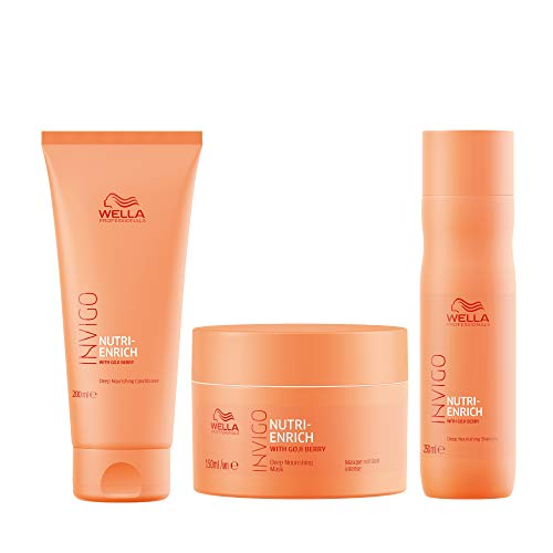 Wella Professionals Wella Professionals Invigo Nutri Enrich Deep Nourishing Regime For Dry and Damaged Hair - Shampoo 250ml, Conditioner 200ml and Mask 150ml Set, 3 Pieces