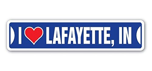 I Love Lafayette, Indiana Street Sign Sticker 8'' Long in City State Us Wall Road DÃcor Gift Sticker Sign - Sticker Graphic Sign - Will Stick to Any Smooth Surface