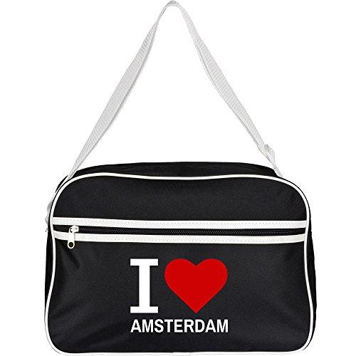Retrotasche Classic I Love Amsterdam schwarz