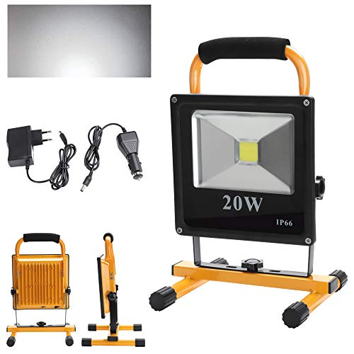 fsders A-1-HG3405 VINGO LED Tragbare 1800LM Strahler handlampe Wasserdicht Fluter Baulicht 4800MA Wiederaufladbare Camping Lampe High Power, 20 W, 240 V, 20w Kaltweiss