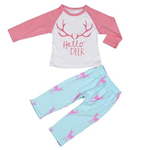 kingko® Kid Bébés filles garçons vêtements Cerf de Noël à manches longues T-shirt + pantalon Outfit (24M)