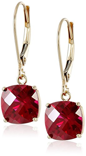 10k Yellow Gold Cushion-Cut Checkerboard Created Ruby Leverback Earrings (6mm)